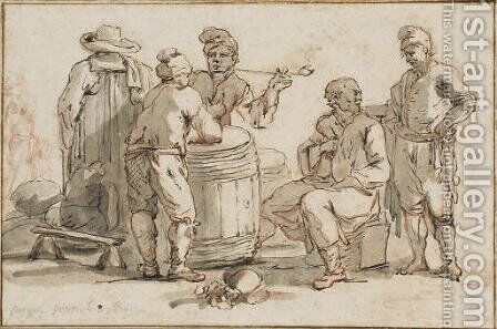 A group of men talking around a barrel, one smoking by Claude-joseph Vernet - Reproduction Oil Painting