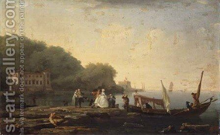 A Mediterranean coastal landscape with elegant company disembarking from an Italian Gondola by Claude-joseph Vernet - Reproduction Oil Painting
