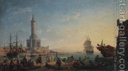 A Mediterranean harbour at sunset with fisherfolk and merchants on a quay, a lighthouse beyond by Claude-joseph Vernet - Reproduction Oil Painting