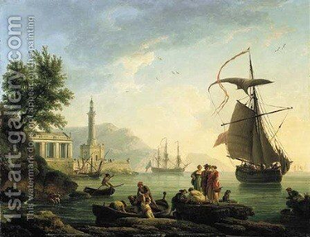 A Mediterranean harbour at sunset with fisherfolk on a quay by Claude-joseph Vernet - Reproduction Oil Painting