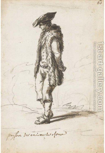 A peasant wearing a sheepskin coat by Claude-joseph Vernet - Reproduction Oil Painting