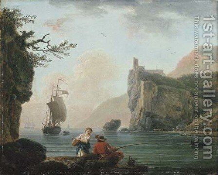 A rocky coastal landscape with a fisherman talking to a peasant girl by Claude-joseph Vernet - Reproduction Oil Painting