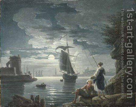 A rocky harbour by moonlight with a peasant couple conversing in the foreground by Claude-joseph Vernet - Reproduction Oil Painting