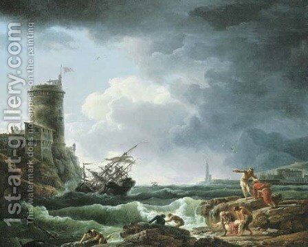 A storm with a shipwreck by a fortress, a castaway in the foreground by Claude-joseph Vernet - Reproduction Oil Painting
