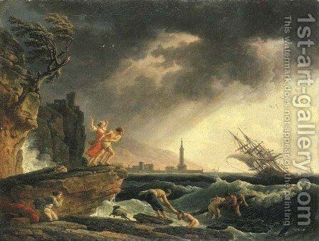 A stormy coastal seascape with survivors from a shipwreck on a rocky outcrop by Claude-joseph Vernet - Reproduction Oil Painting