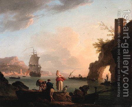La Peche heureuse A Mediterranean coast at sunset with fisherfolk unloading a catch near a natural arch, a frigate offshore, and a city beyond by Claude-joseph Vernet - Reproduction Oil Painting