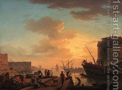 Le Soir A Mediterranean harbour at sunset with fisherfolk and merchants on a quay by Claude-joseph Vernet - Reproduction Oil Painting