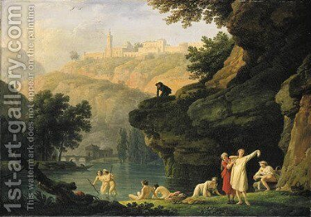 Les Baigneuses A mountainous landscape with bathers at a lake, a man looking on from an outcrop above by Claude-joseph Vernet - Reproduction Oil Painting