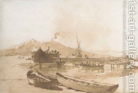 The Bay of Naples with boats in the foreground, Vesuvius beyond by Claude-joseph Vernet - Reproduction Oil Painting