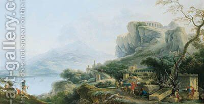A View of the Bay of Taormina by Claude Louis Chatelet - Reproduction Oil Painting