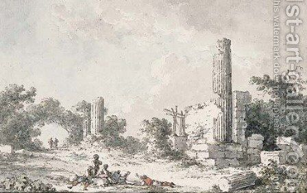 The ruins of the Temple of Castor and Pollux, Agrigento, with artists sketching by Claude Louis Chatelet - Reproduction Oil Painting