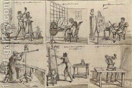 Studies of six artists and craftsmen by Claude Louis Desrais - Reproduction Oil Painting