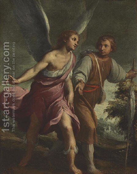 Tobias and the Angel by Claudio Ridolfi Verona - Reproduction Oil Painting
