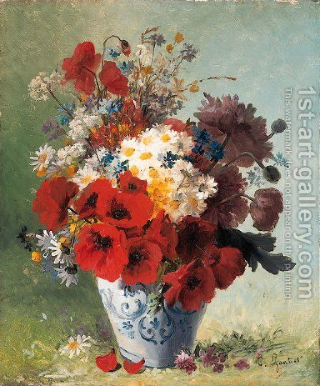 Summer Flowers in a Vase by Clement Gontier - Reproduction Oil Painting