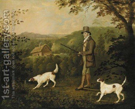 A gentleman out pheasant shooting with two pointers by Clifton Tomson - Reproduction Oil Painting