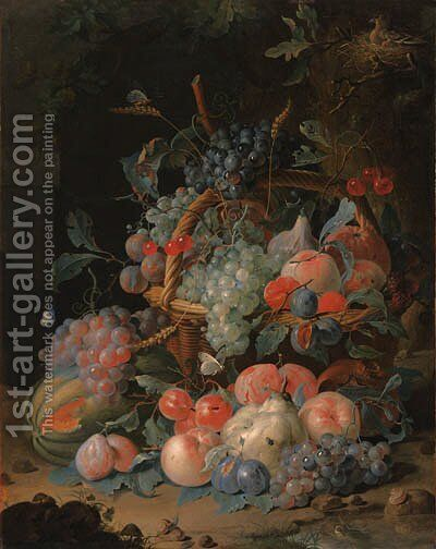 Grapes, cherries, plums, raspberries, tangerines, apples, oranges, peaches, pears, apricots and ears of corn in a basket, with a melon and other fruit by Coenraet Roepel - Reproduction Oil Painting