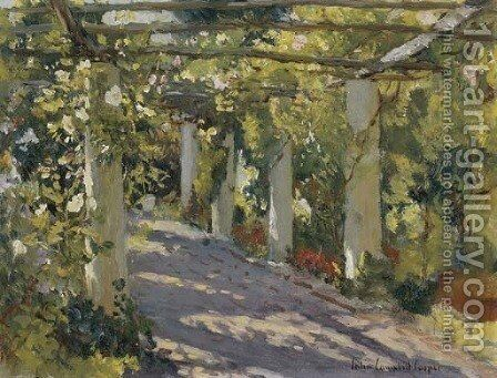 Sun Dappled Garden with Trellis by Colin Campbell Cooper - Reproduction Oil Painting