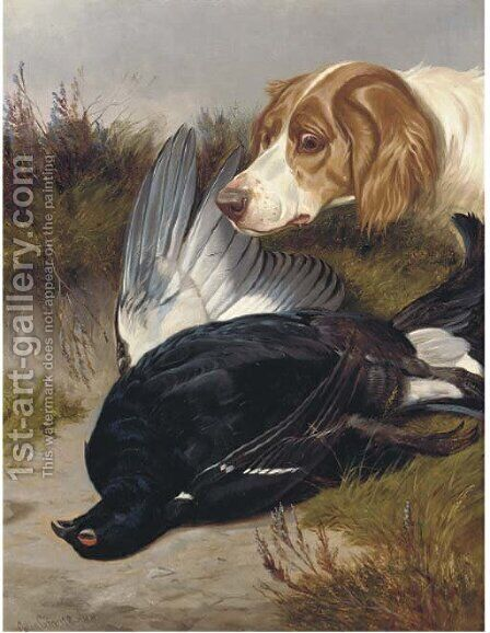 A gundog with a black game by Colin Graeme Roe - Reproduction Oil Painting