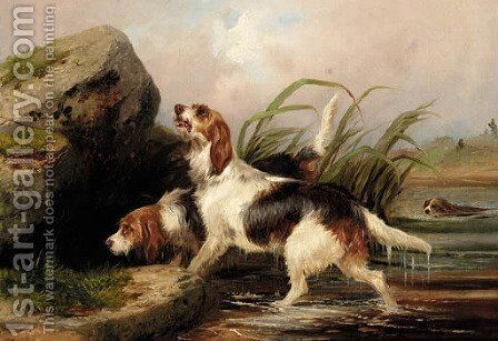 Otter hounds on the scent by Colin Graeme Roe - Reproduction Oil Painting