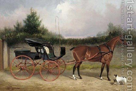 Shin-a-beg a bay horse in a phaeton, with a terrier and a pug in a stable yard by Colin Graeme Roe - Reproduction Oil Painting