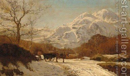 Gathering wood in an Alpine landscape by Colin Hunter - Reproduction Oil Painting