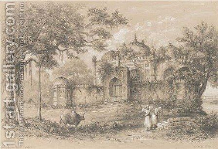 Old mosque near Rajmahal, on the Ganges, near Patna by Colonel George Francis White - Reproduction Oil Painting