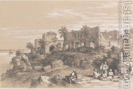 Ruins of a palace at Rajmahal, on the Ganges, near Patna by Colonel George Francis White - Reproduction Oil Painting