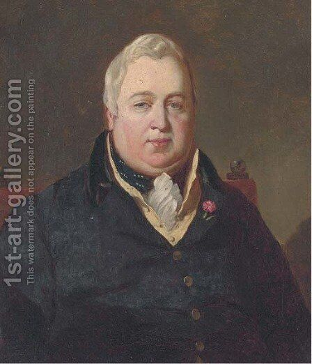 Portrait of the Hon. William Maule of Panmure MP (1771-1852), seated bust-length, in a black coat and yellow waistcoat, a flower in his lapel by Colvin Smith - Reproduction Oil Painting