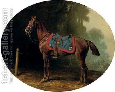 A military horse by Conrad Freyberg - Reproduction Oil Painting