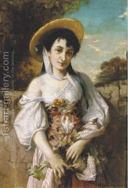 A young beauty with harvested grapes in her apron by Conrad Kiesel - Reproduction Oil Painting
