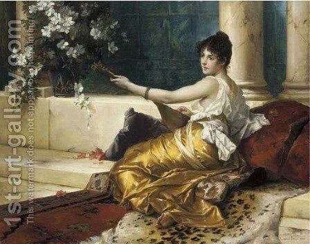The Mandolin Player by Conrad Kiesel - Reproduction Oil Painting