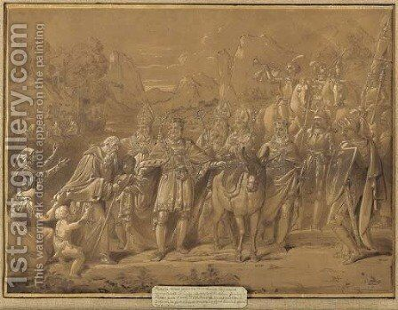 The Emperor Charles II bringing Pietro Morrone to Rome to become Pope Celestino V by Conrad Martin Metz - Reproduction Oil Painting