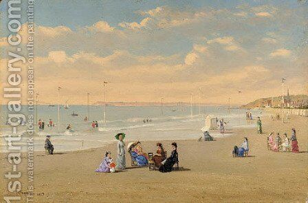 The Beach at Houlgat by Conrad Wise Chapman - Reproduction Oil Painting