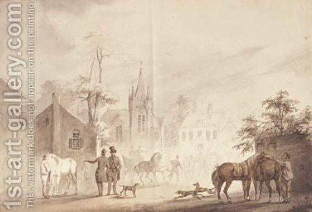 Horsemen by a village square, a church beyond by Conradyn Cunaeus - Reproduction Oil Painting