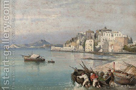 Fishermen before Pozzuolli by Consalvo Carelli - Reproduction Oil Painting