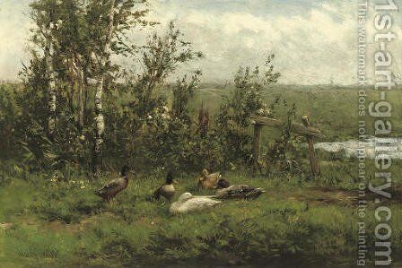 A group of ducks in the meadow by David Adolf Constant Artz - Reproduction Oil Painting