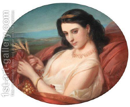 A young reclining beauty swathed in a robe by Constant Joseph Brochart - Reproduction Oil Painting