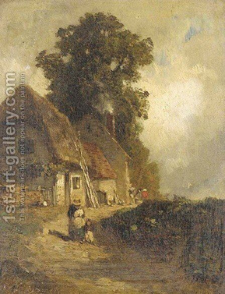 A rural homestead by Constant Troyon - Reproduction Oil Painting