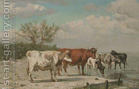 Vaches s'abrevant by Constant Troyon - Reproduction Oil Painting