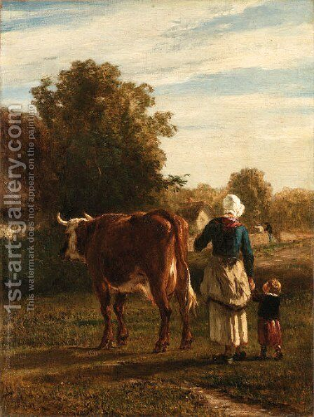 The walk to pasture by Constant Troyon - Reproduction Oil Painting