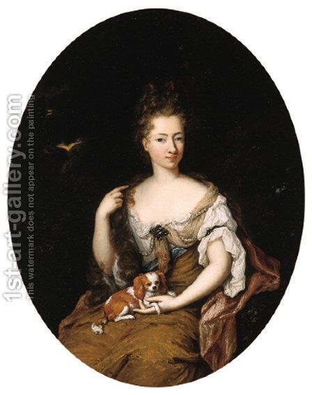 Portrait of a noblewoman, seated small three quarter length in a landscape, wearing a blue lined, ochre silk dress with lace chemise by Constantin Netscher - Reproduction Oil Painting