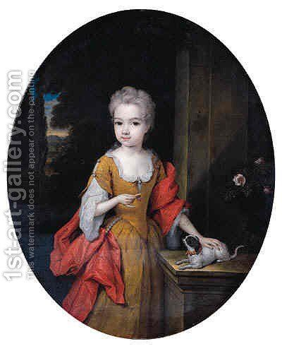 Portrait of Henriette Bentinck (1705-1792), later Countess of Clan Brassill, standing small three-quarter length, on a terrace by Constantin Netscher - Reproduction Oil Painting