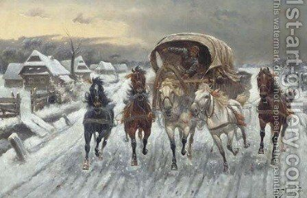 A Russian Caravan racing in the Snow by Constantin Stoiloff - Reproduction Oil Painting