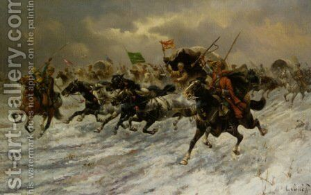 Russian Horsemen Storming the Battle Field by Constantin Stoiloff - Reproduction Oil Painting