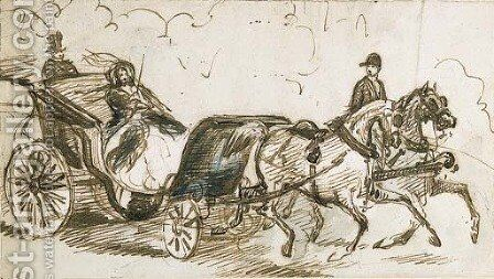 A lady being driven in a landau by Constantin Guys - Reproduction Oil Painting