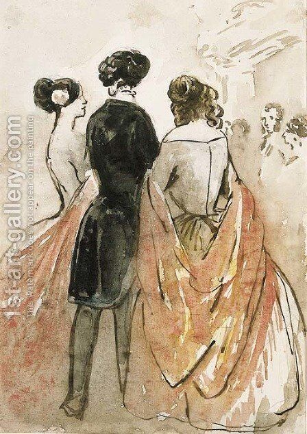 Elegant company at a ball by Constantin Guys - Reproduction Oil Painting