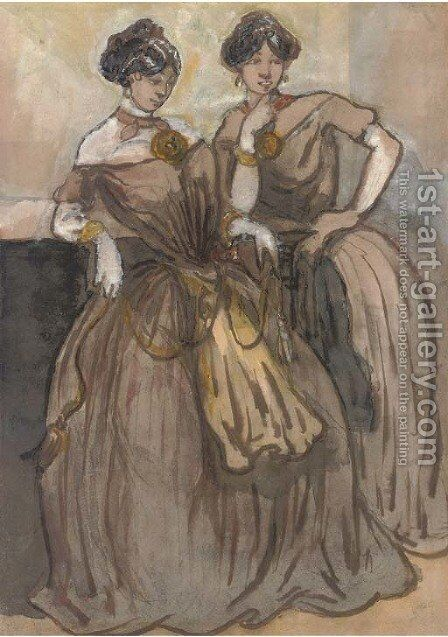 Two elegant ladies of fashion by Constantin Guys - Reproduction Oil Painting