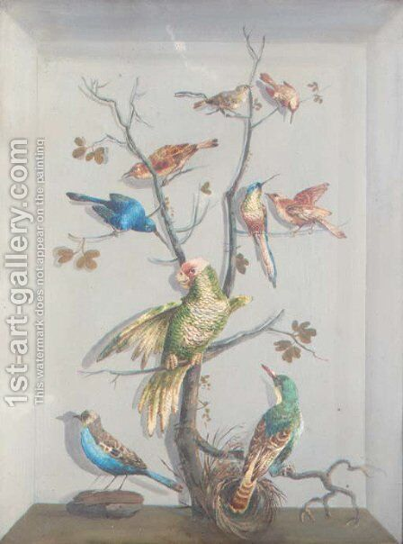 A parrot and other exotic birds perched on a tree by Continental School - Reproduction Oil Painting