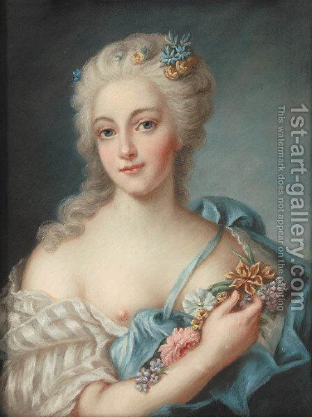 A portrait of a lady by Continental School - Reproduction Oil Painting