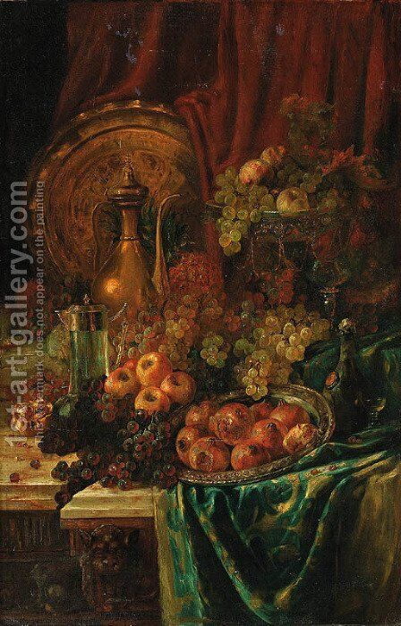 An elaborate still life by Continental School - Reproduction Oil Painting